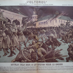 Ziarul Vulturul , nr. 135 din 1909 , cromolitografie mare ; Batalia dela Baia