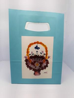 Set 5 Pungi hârtie bleu, 18x9x25 cm, model de flori, PH 2b-4b foto