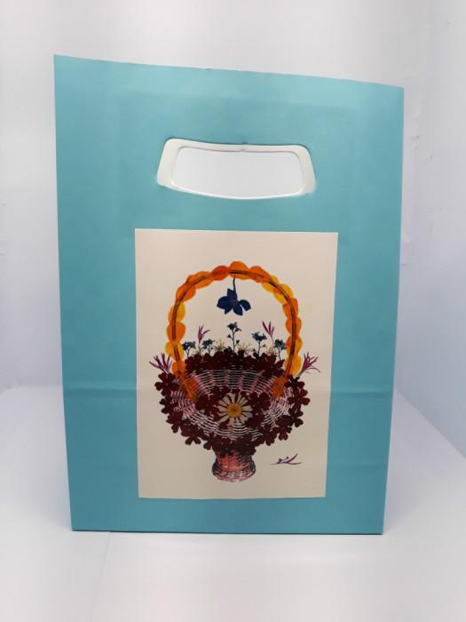Set 5 Pungi hârtie bleu, 18x9x25 cm, model de flori, PH 2b-4b