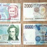 Lot 4 bancnote Italia 1000 lire 2000 lire 5000 lire 10.000 lire