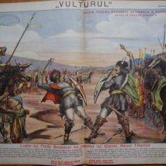 Ziarul Vulturul , nr. 17 din 1906 , cromolitografie ; Preda Buzescu