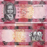 !!!  SOUTH  SUDAN -  5  POUNDS   2015   -  P 11  -  UNC