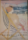 Afisul expozitiei de litografii Toulouse - Lautrec , Bucuresti , 1967