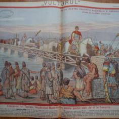 Ziarul Vulturul , nr. 16 din 1906 , cromolitografie ; Podul Imparatului Traian