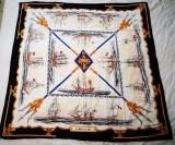 Esarfa matase model Hermes vintage, colectia Le Marine en Bois, Multicolor