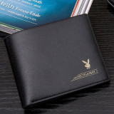 Portofel Barbatesc PLAYBOY Slim Fashion Piele PU - Culoare Neagra