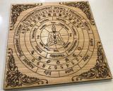 Pendul radiestezie-plansa lemn +cadou set 7 chakre cristale, Christina Jewelry