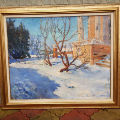 TABLOU ,PICTURA -K.BRUNI -PEISAJ DE IARNA -1925 -ulei/panza, Peisaje, Realism