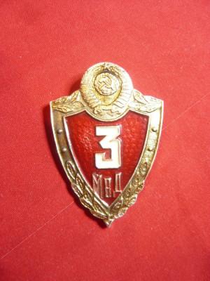 Insigna Militara MVD cl.3 -succesoare KGB , URSS metal si email , h=4,5cm foto