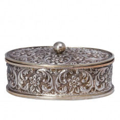 Caseta din argint cu capac pentru bijuterii, Cutie