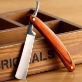 Brici barbatesc metal maner lemn si curea pentru ascutit