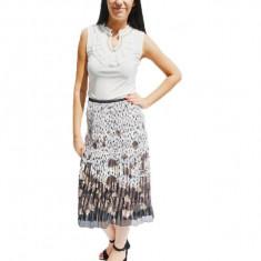 Fusta de lungime medie cu imprimeu floral,culoare alb-maro-negru, 40, Multicolor