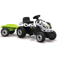 Tractor cu pedale si remorca Smoby Farmer XL alb negru