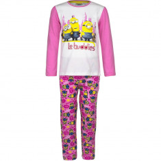 Pijama cu maneca lunga copii , Minioni, Minions, bumbac 100 % , 3-8 ani