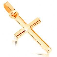 Pandantiv din aur galben de 9K - cruce latină mică, suprafață netedă lucioasă