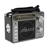 Radio portabil FM/SW/AM, MP3 player, slot SD, USB, lanterna, argintiu, Waxiba
