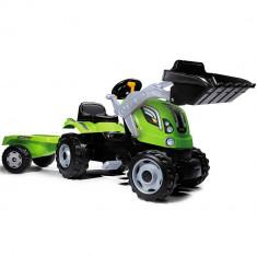 Tractor cu pedale si remorca Smoby Farmer Max verde