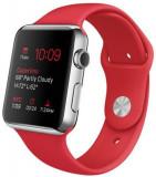 Smartwatch Apple Watch 1 MLLE2, AMOLED Display, Bluetooth, Wi-Fi, Bratara Sport 42mm, Carcasa din otel, Rezistent la apa si praf (Argintiu/Rosu)