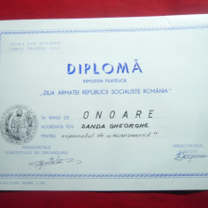 Diploma Expozitia Filatelica Ziua Armatei RSR 1988