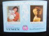 Bloc timbre pictura nestampilat Yemen Kingdom timbre arta timbre picturi