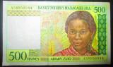 Madagascar : 500 francs ND ( 1994 ) . VF ( bancnota , stare VF )