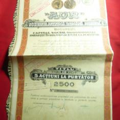Titlu de 5 Actiuni la Firma AUR -Soc.Anonima la Minele de Aur 1935 ,emisiunea II