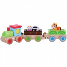 Trenulet din lemn cu animale copii 12 luni + Sun Baby