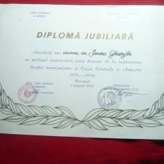 Diploma Jubiliara - 10 Ani Sectia Numismatica a CCA 1986
