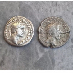 Monede romane Denarius argint Antoninus Pius denar doua bucati autentice 138 e.n