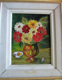 Tablou Flori și fructe - semnat Antoaneta Apostol, datat 1986