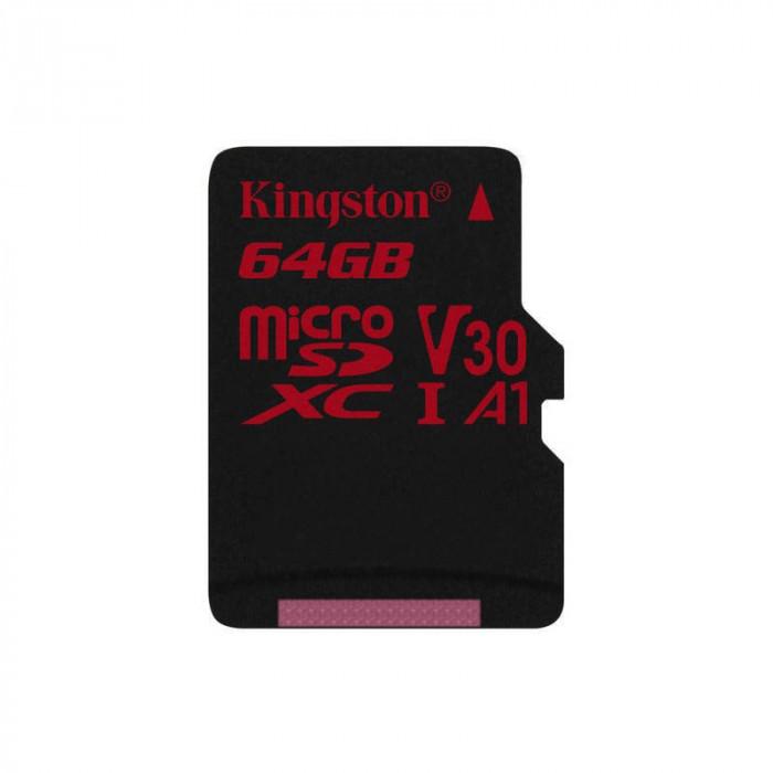 Card Kingston Canvas React microSDXC 64GB Clasa 10 UHS-I U3 V30 100Mbs