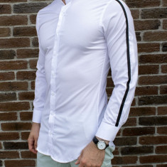 Camasa tunica alba - camasa slim fit - camasa barbati - camasa ocazie