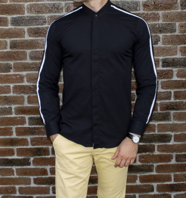 Camasa tunica neagra - camasa slim fit - camasa barbati - camasa ocazie foto