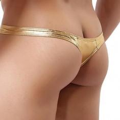 Chiloti TANGA pt barbati - material  stretch auriu, lucios, L, M