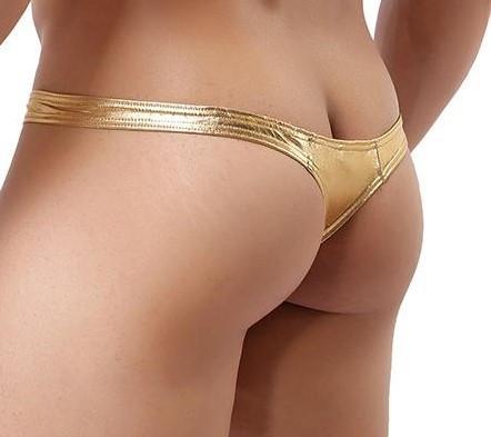 Chiloti TANGA pt barbati - material  stretch auriu, lucios