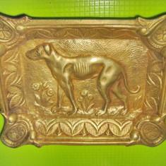 Scrumiera trabucuri veche Caine Vanatoare bronz masiv stare buna.