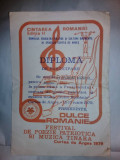 DIPLOMA Cantarea Romaniei,Festival poezie patriotica si muzica,RSR,1979,C.ARGES