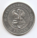 Danemarca 10 Kroner 2005 - (Ugly Duckling ) Argint 31.1g/999, MV2 ,KM-906, Europa