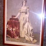 Regina Elisabeta - gravura originala, Portrete, Cerneala, Realism