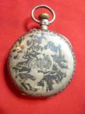 Ceas de buzunar ,capace ext. argint ,pictat in email cu scene de Vanatoare