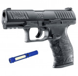 Pistol Airsoft Walther PPQ M2 T4E CAL.43 CO2 Black 5J - VU.2.4760 + Lanterna cadou
