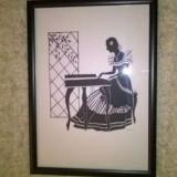 "Mic tablou gen ""silhuette"" Pianista., Scene gen, Cerneala, Miniatura"