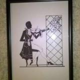 """Mic tablou gen """"silhuette"""" Violonistul., Scene gen, Cerneala, Miniatura"""