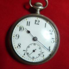 Ceas de buzunar ,capace argint 935 sterling Elvetia ,D.cadran=3cm,functioneaza