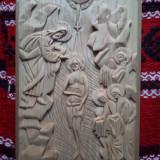 Icoana lemn de tei Bizantina cu botezul Domnului Iisus Hristos