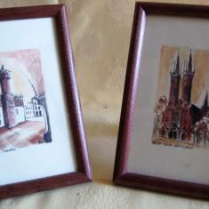 Set 2 tablouri Târnovo / Polonia - semnate Vena, datate 2009, Istorice, Acuarela, Altul