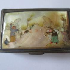 Cutiuta metalica cu sidef pentru bijuterii Imperiul Otoman anii 20, Cutii