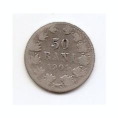 Romania 50 Bani 1901 – Carol I, Argint 2.5g/835, MV2 , 18.6 mm KM-23