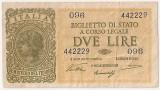 ITALIA BIGLIETTO DI STATO 2 LIRE 1944 VF