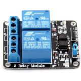 Modul cu 2 Relee, Negru 5V 10A Shield TTL pentru proiecte Arduino Raspberry PIC / AVR / ARM / STM32